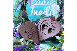 cutie verighete personalizata pentru nunta inima