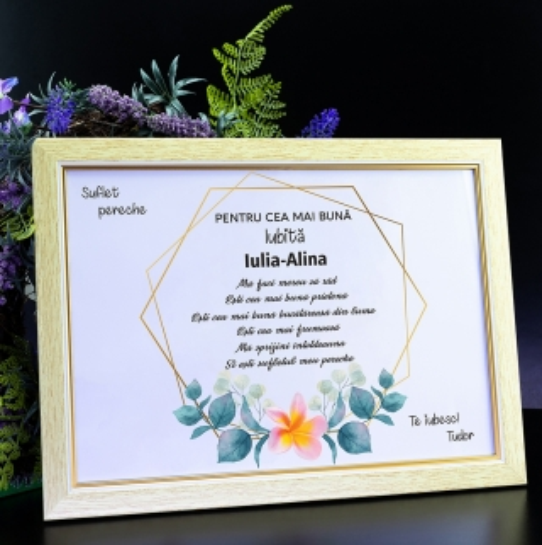 Cadou personalizat Diploma personalizata in rama - Cea mai buna iubita