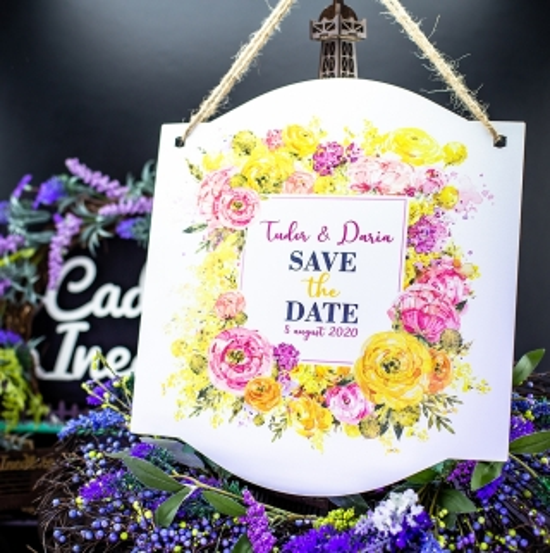 Pancarta Save the date - Tema flori colorate  -Accesorii pentru sedinta foto