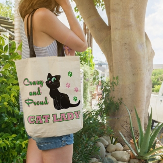 Cadou Personalizat Geanta Canvas Tote Bag -  Crazy Cat Lady